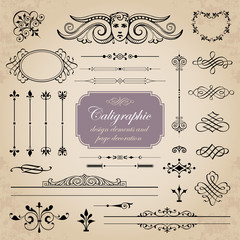 Calligraphic design elements and page decoration set 3