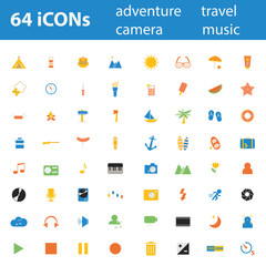 64 Quality design modern vector illustration icons set.