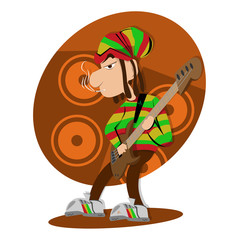 Reggae dread lock bass player