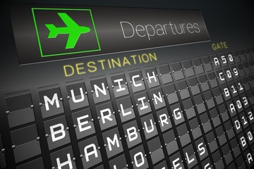 Black departures board for german cities