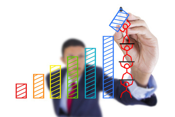 Businessman look up and writing graph bar growth