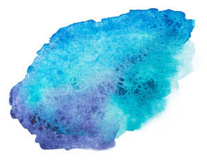 Abstract blue watercolor, aquarelle art hand draw paint on white