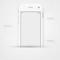 Smart Phone with Isolated. Realistic white