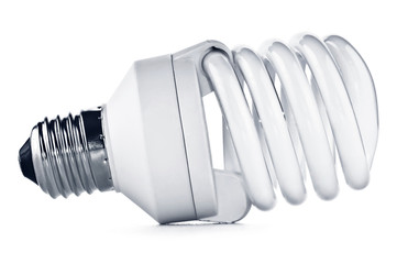 Energy saving fluorescent light bulb on white bakground