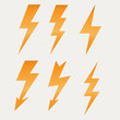 Lightning icon flat design long shadows vector illustration - 66036114