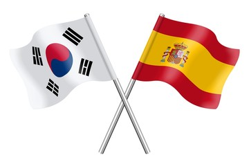 Flags : South Korea and Spain
