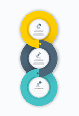 Infographic circle steps timeline web template vector elements
