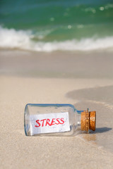 "Stress concept. Bottle with a message ""Stress"""