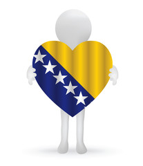 small 3d man holding a Bosnia Herzegovinan Flag