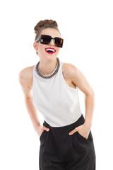 Laughing fashion model