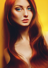 Sexual red hair adult female on yellow background