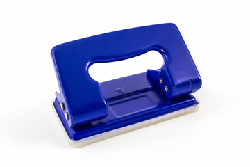 Blue office paper hole puncher.