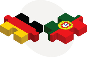 German and Portuguese Flags in puzzle isolated on white backgrou
