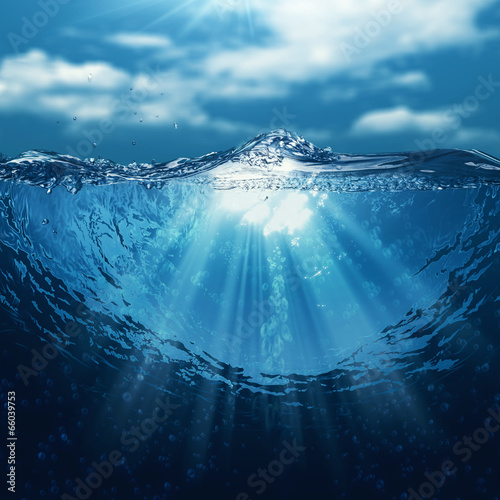 Poster Koraalriffen Underwater world, abstract marine backgrounds for your design