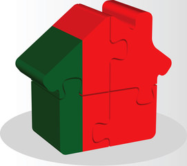 house home icon with Portuguese flag in puzzle isolated on white