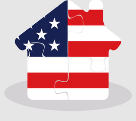 house home icon with USA flag in puzzle isolated on white backgr