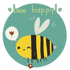 Bee happy postcard.