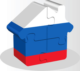 house home icon with Russian flag in puzzle isolated on white ba