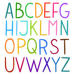 Colorful hand drawn vector full alphabet.