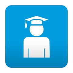Etiqueta tipo app azul simbolo graduado