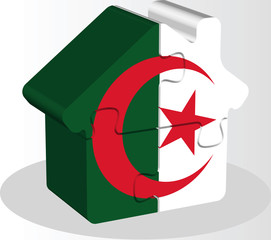 house home icon with Algerian flag in puzzle isolated on white b