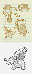Decorative elephant sketches