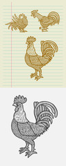 Decorative rooster sketches
