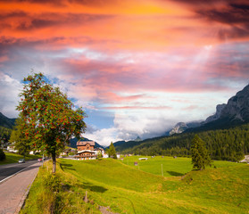 Meadows and mountains of Dolomites, Italy
