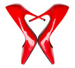Red high heel shoes in heart shape - 66040937