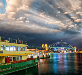Awesome sunset over Sydney Harbour in winter season