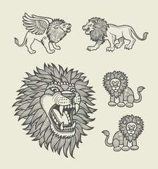 Lion with geometric ornament decoration