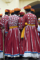 group of dancers , festival , Rajasthan , India