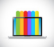 laptop and info graphic color lines illustration