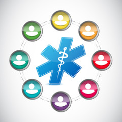 medical diversity people network illustration