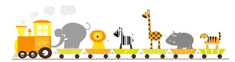 wild animals train- vector illustraion on white background