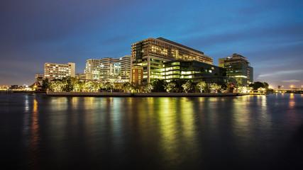 Modern Building at dusk, A major government hospital in Bangkok,