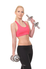 woman holding weights and doing fitness