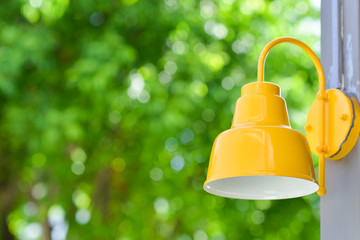 outdoor lantern with green natural background
