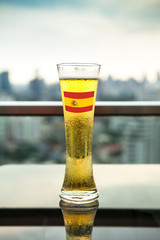 Spain Flag on Beer Glass (with clipping path)