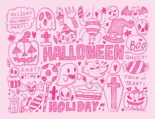 doodle halloween holiday background