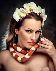 Gorgeous woman with snake