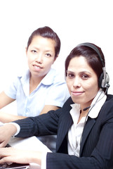 Service represenative women with headphone