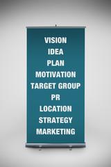 Business keywords on roll up banner