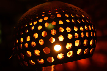 Closeup Carved and Perforated Coconut Lamp