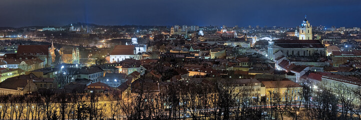 Evening panorama of the Vilnius Old Town, Lithuania