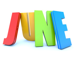 June - calendar month - 3D colored letters