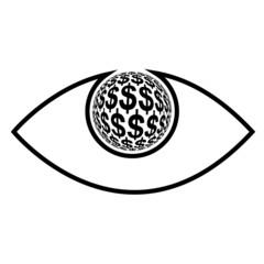 Money Eye, concept sign for profit seeking, greed