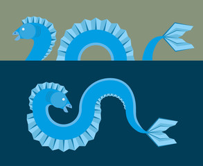 Sea monster - flat design