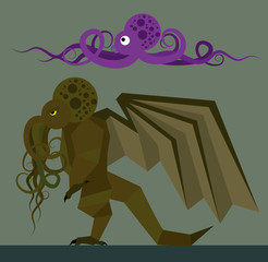 Cracken and Cthulu - flat design