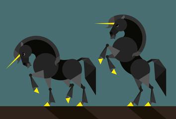 Black unicorn - illustration